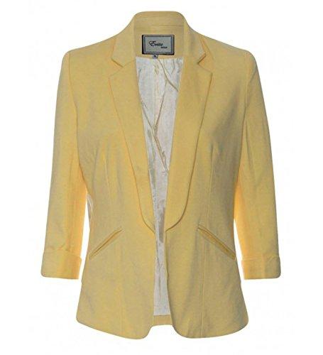 GG Femmes élégant pliable manches Mesdames Blazer 3/4 Longueur Turn Up Manches Collection! Jaune