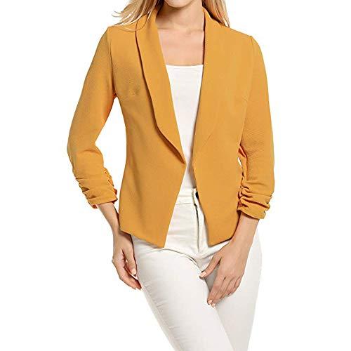 IMJONO Bluse Damen elegant Frauen Spitze Mode Vintage,Damen 3/4 Ärmel Blazer Kurzer Cardigan-Anzug mit Frontjacke und kurzem Arbeitsanzug(Small,Gelb)