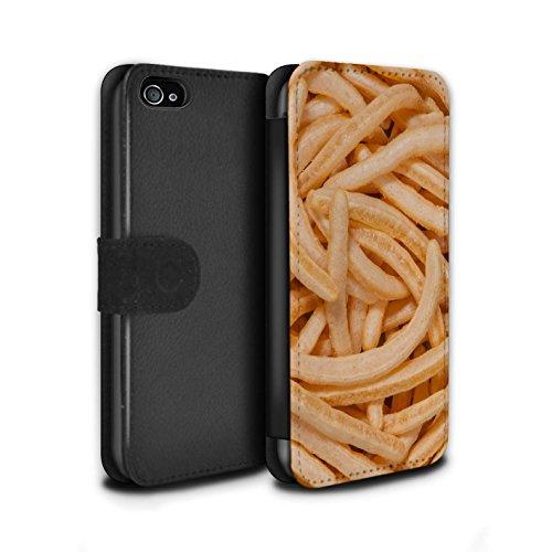 Stuff4 Coque/Etui/Housse Cuir PU Case/Cover pour Apple iPhone 4/4S / Quavers Design / Casse-Croûte Collection French Fries