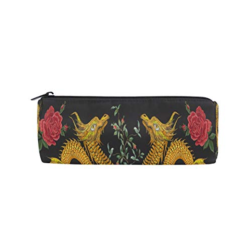 BIGJOKE Federmäppchen mit chinesischem Drachen, Ethnische Blume, Federmäppchen, Reißverschluss, Tasche für Make-up-Pinsel für Mädchen, Kinder, Schule, Studenten, Schreibwaren, Bürobedarf