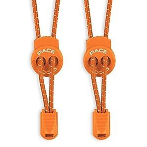 PACE LOCKS - Elastische Schnürsenkel mit Schnellverschluss - Schnellschnürsystem für einzigartigen Komfort, perfekten Sitz und starken Halt - 1 JAHR 100% ZUFRIEDENHEITSGARANTIE (Orange)