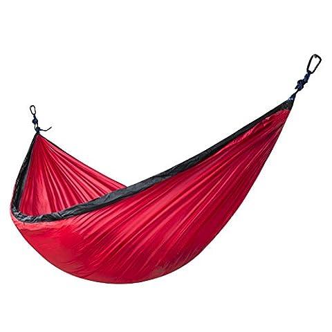 Xiyoyo Taille enfant Tissu Parachute en nylon Camping Hamac Capacité de 258,5kilogram avec 2sangles et amélioré mousquetons Portable Compact et léger Parfait pour l'extérieur, plage, jardin, randonnée rouge/noir