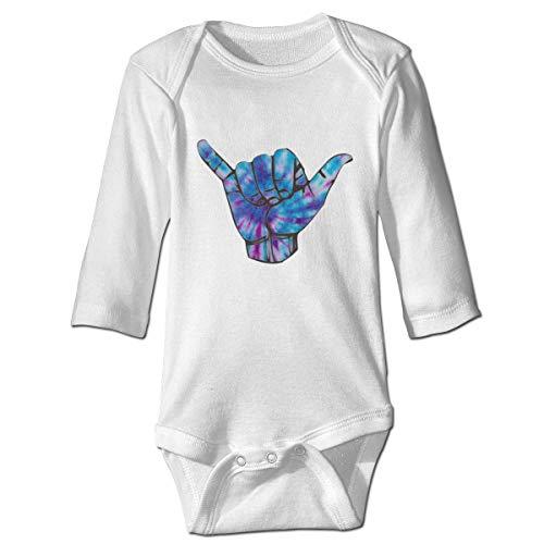 Monicago Neugeborenes Baby Jungen Mädchen Babybody Langarm, Baby Boys Girls Bodysuit Blue Purple Shaka Tige Dye Jumpsuit Onesies Long Sleeve Unisex
