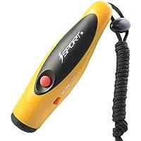 Silbato electrónico Handheld 2-Tone deporte emergencia supervivencia silbato con cordón para silbato Para el arbitro entrenador amarillo