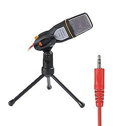 Rixow professionelle Kondensator-Mikrofon Schall Podcast Studio Microphone für PC Laptop Computer Schwarz