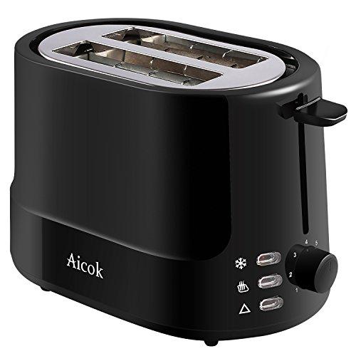 Aicok 2-Fette Tostapane, Cool Touch, Tostiera Professionale, Acciaio Inox, 850 W, Nero