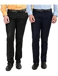 INSPIRE PACK OF 2 FORMAL TROUSERS FOR MEN (BLACK & BLUE)