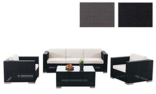 CLP Outdoor Lounge-Set BRAC 3-1-1 aus Aluminium & wasserabweisender Stoff | Gartengarnitur mit 5 Sitzplätzen | Loungesofa-Ecke mit Tisch 100 x 75 cm