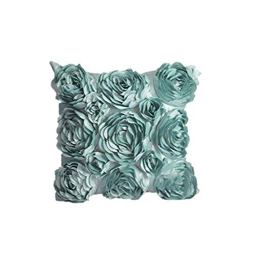 Dekor Kissenbezug (Blumen-Design Kissenbezug Leinenwurf Sofakissen Fall Bett Dekor Dunkelrosa - Hellblau)