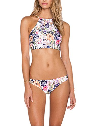 Y&L Damen Floral Printed Bikini Sets High-Neck-Tankini-Top-und Bottom-Sommer Bademode Badeanzug Kleine (Neck Bikini-top Printed High)