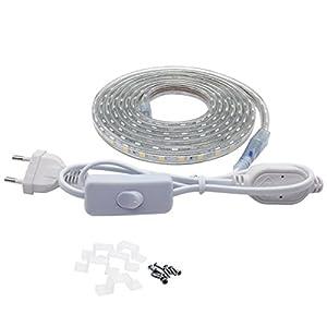 LED Streifen mit Schalter, 5050 IP65 LED Lichtleiste, 230V (3 Meter, Warmweiß)