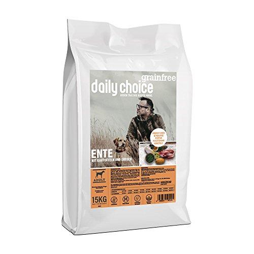 daily choice grainfree | 2 x 15 kg | Trockenfutter für alle Hunderassen | Ente mit Kartoffeln und Erbsen | getreidefrei | für besonders Sensible Hunde