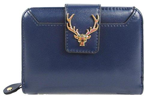 Kukubird Anteriore Metallo Moose Head Logo Dettaglio Medio Ladies Pochette Portafoglio Della Borsa Dark Blue
