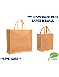 **COMBO**Pack Of 2**Large & Small**The Bag Spot Plain Jute Burlap Eco-Friendly Large Big Size Working Office Bag...