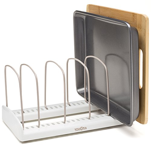 YouCopia StoreMore Adjustable Bakeware Rack, White/Taupe