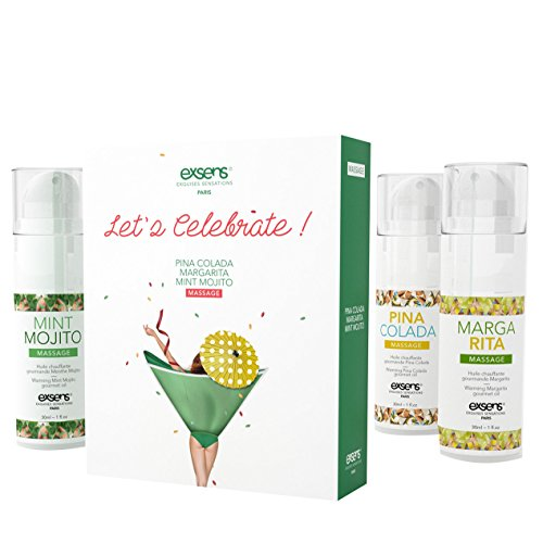 EXSENS - Travel Set - LET'S CELEBRATE! - wärmendes Massageöl mit Geschmack 3x30ml – Art of Life Berlin (Mint Mojito/Margarita/Pina Colada)