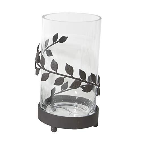 Varia Living Windlicht Fleur aus Metall in schwarz Kerzenleuchter mit Glas | Windlichtglas für Dekoideen an Weihnachten, Ostern, Geburtstagsfeier| Teelichthalter im modernen Vintage Shabby Look