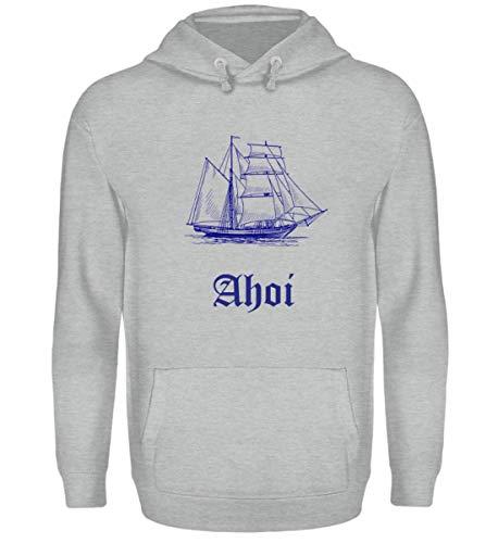 Segelschiff - AHOI für Seefahrer, Freizeitkapitäne und Fans der Meere - Unisex Kapuzenpullover Hoodie -L-Sportgrau Heather -