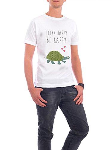 """Design T-Shirt Männer Continental Cotton """"Think happy - be happy"""" - stylisches Shirt Typografie Tiere von Claudia Schön Weiß"""