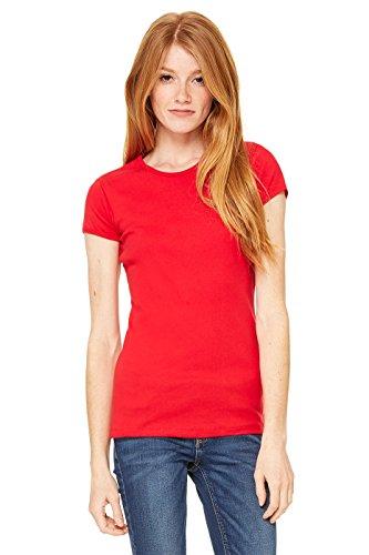 Bella donna a maniche corte Girocollo-T-Shirt in baby-Dolcevita Rosso