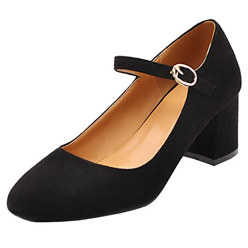 Artfaerie Damen Riemchen Pumps Blockabsatz Geschlossene Zehen Mary Jane Bequem Büro Arbeit Schuhe(EU 38,Schwarz)