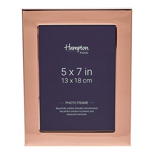 Hampton Optik (Hampton Frames wa7457cp Woburn (Kupfer Teller 12,7x 17,8cm (13x 18cm) Blende Foto Rahmen mit breit 1in/2,5cm Profil und Rückseite in Samt-Optik und Strebe geeignet für Gravur)