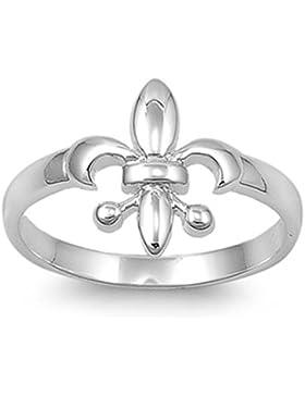 Ring aus Sterlingsilber - heraldische Lilie