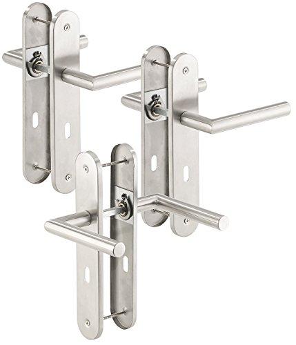 AGT Türgriff: 3er-Set Moderne Edelstahl-Türbeschläge, 6 Türklinken & 6 Langschilder (Tür-Klinke)