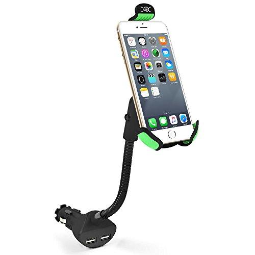 KFZ Halterung, YXwin KFZ Handyhalterung 360° Drehung mit 2 Port Dual USB Zigarettenanzünder Kombi Auto Halterungen für iPhone, Samsung, Huawei, Sony und andere Smartphones (Zigarettenanzünder-gps-halterung)