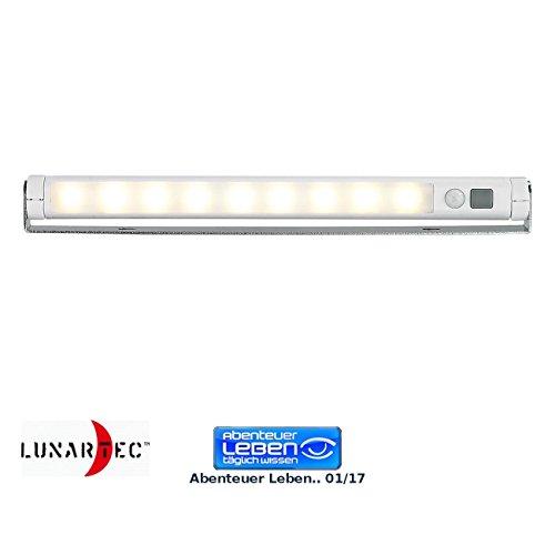 Lunartec LED Lichtleiste kabellos: LED-Lichtleiste mit PIR-Bewegungssensor, 9 SMD-LEDs, warmweiß (LED Treppenbeleuchtung ohne - Licht Sensor Garage