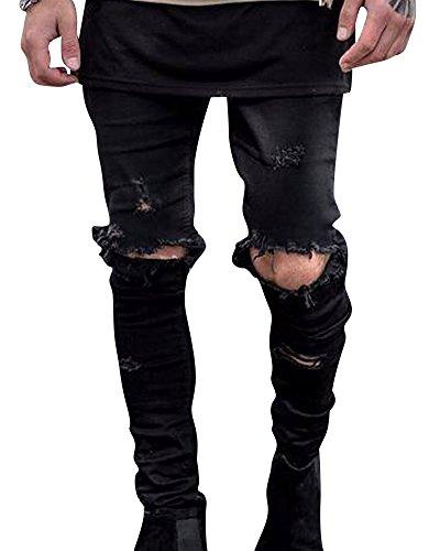 Herren Ripped Loch Im Knie Skinny Stretch Jeans Distressed Denim Hose Schwarz 29 (Herren Taille Jeans 29)