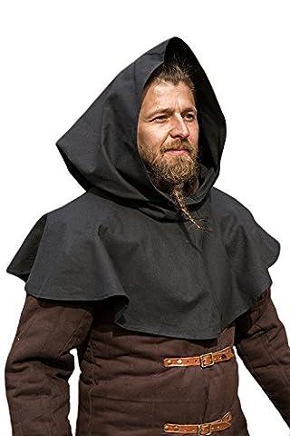 Cape courte noire avec capuche médiévale celtique impérial gn - L/XL