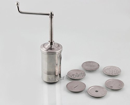 Stainless Steel Kitchen Press Farsan Bhujia Maker set of 6 Jali Designs  available at amazon for Rs.399