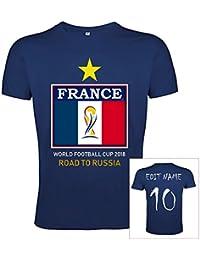 JL Copa Mundial de Fútbol 2018 Camiseta Francia Poliéster Bandera - Nombre y Número Personalizable (