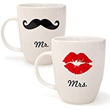 """Tazas El Sr. y la Sra / en inglés """"Mr"""" y """"Mrs""""   Junto de 2 tazas para una pareja con labios y bigote. Regalo perfecto   Cerámica blanca[NORBERTBERKELEY]"""