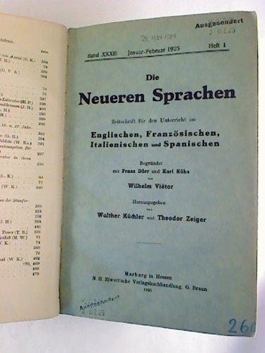 Die Neueren Sprachen. - 33. Bd. / 1925. - Zeitschrift für den neusprachlichen Unterricht. -