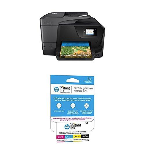HP OfficeJet Pro 8710 Multifunktionsdrucker schwarz + HP Instant Ink Karte (Tarif für 15, 50, 100 oder 300 Seiten pro Monat)