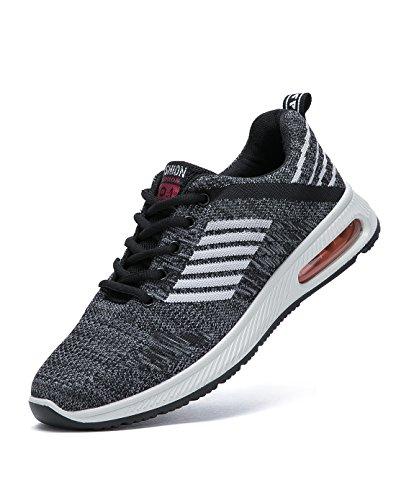 BRKVALIT Unisex Scarpe da Ginnastica Corsa Sportive Running Fitness Gym Interior Casual allAperto Sneakers bianco nero