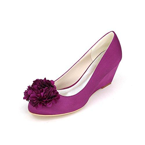 L@YC Tacchi alti delle donne Primavera autunno Scarpe da sposa sintetiche confortevoli e abiti da sera Tacchi alti di pendenza Purple