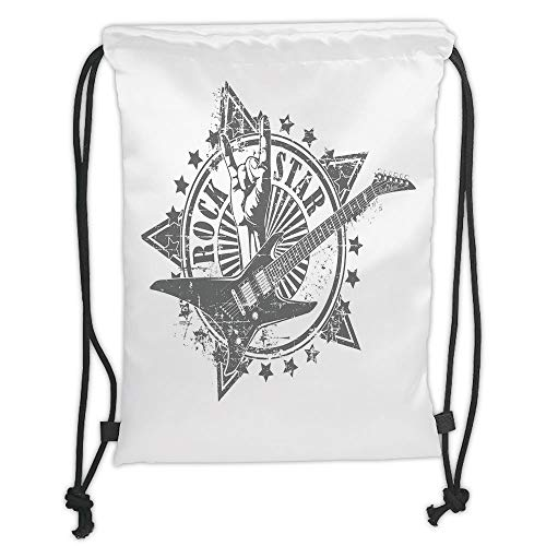 Fashion Printed Drawstring Backpacks Bags,Guitar,Stars with Rock Sign Monochrome Musical Instrument Design Rockstar Life Singing,Pale Grey White Soft Satin,5 Liter Capacity,Adjustable String Closu