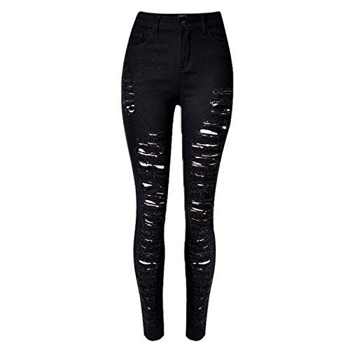 LAEMILIA Frauen Jeans Zerrissen Ripped Leggings hohe Taille Stretch Destoryed Skinny Bleistifthose Hose -