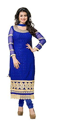 Khushali Women Georgette Karachi Unstitched Salwar Suit Dress Material (Blue)