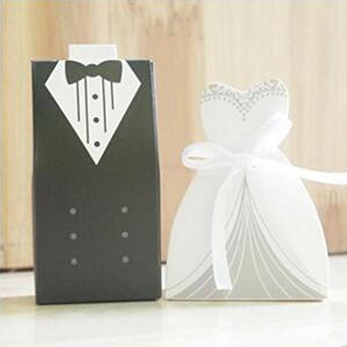 100 Stück Hochzeit Favor Candy Box Bride & Groom Tuxedo Party Kleid favor- (Party Candy Kleid)