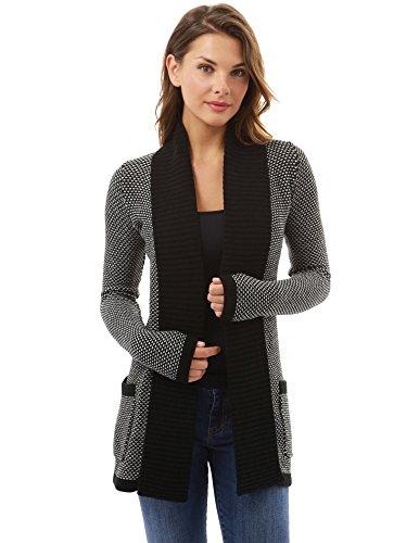 PattyBoutik Mujer Frente Abierto suéter Chaqueta de Punto Marled (Negro y Blanco 34)