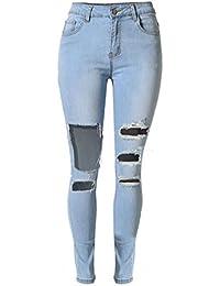 6eadf67bd7df20 SMITHROAD Damen Stretch Skinny Jeanshose mit Löchern Used-Look  Five-Pocket-Style Röhrenjeans
