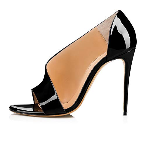 Ladies Fashion Shoes, European and American Women Black Patent Leather Super High Heel Sandals Dinner Shoes Fashion Women es Shoes,Black,35 Black Patent Leather High Heel