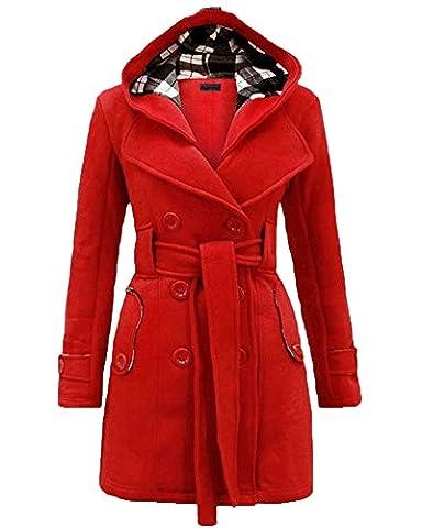 Mantel Jacke Trenchcoat Damen Winterjacke Outwear mit Kapuze Rouge L