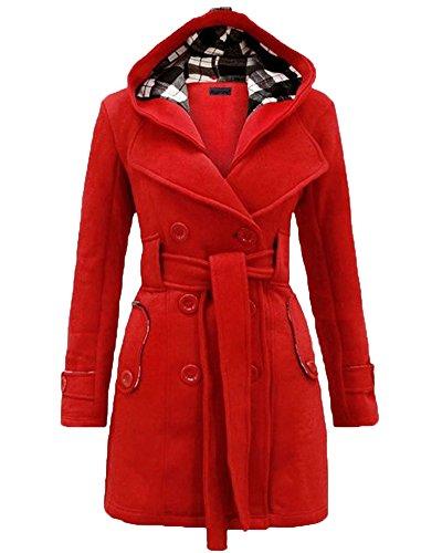 Mantel Jacke Trenchcoat Damen Winterjacke Outwear mit Kapuze Rouge 2XL (Kapuzen Mäntel)