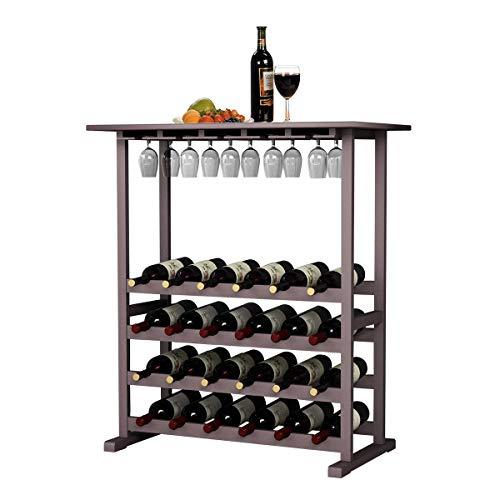 DlandHome Meubles à Vin pour 24 Bouteilles avec Porte-Verres Suspendu & Dessus de Table de 80 x 40.5 CM Etagère à Vin Casier à Bouteille Range-Bouteilles en Bois Hauteur: 90 CM, Brown