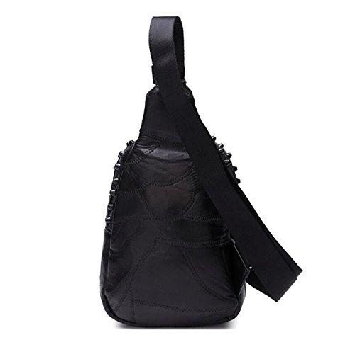 Z&N Neu Leder Chest Pack Ganzes Schaffell Handytaschen Geldbörse Umhängetasche Diagonalpaket Freizeit Wandern Tasche Sport Fitness Tasche black